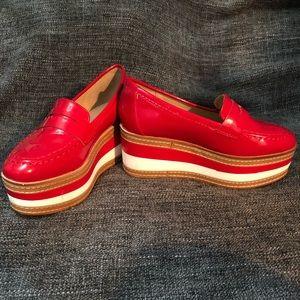 Shoes - Red platformed loafers